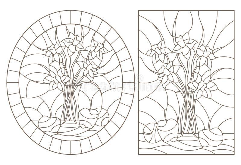 Contorno fissato con le illustrazioni di vetro macchiato Windows con i lifes tranquilli, i mazzi dei narcisi ed i frutti, contorn royalty illustrazione gratis