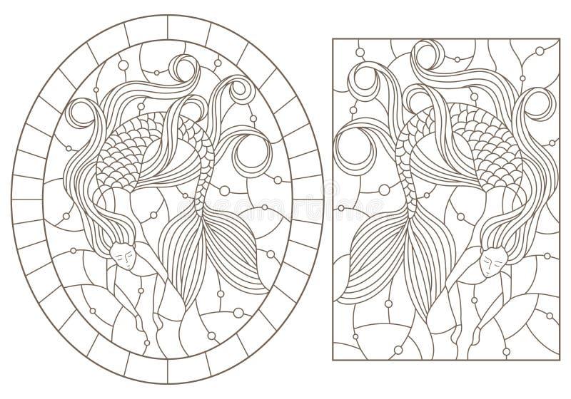 Contorno fissato con le illustrazioni con le sirene sul fondo delle bolle di aria e dell'acqua, profili scuri su fondo bianco royalty illustrazione gratis