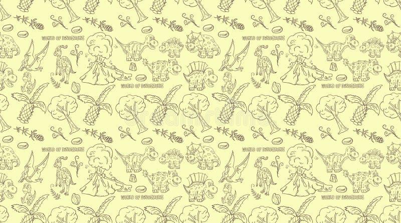 Contorno illustration_6_of sem emenda o teste padrão de dinossauros e de árvores pequenos, plantas, pedras, para o projeto ao est ilustração royalty free