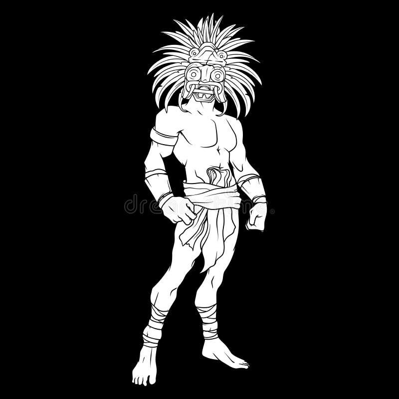 Contorno llenado blanco del guerrero maya con una máscara en su cara, fondo negro imagen de archivo