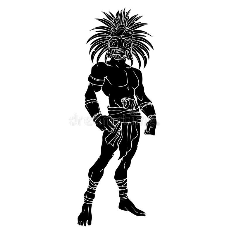Contorno llenado negro de un guerrero tribal antiguo con una máscara asombrosa en su cara foto de archivo libre de regalías