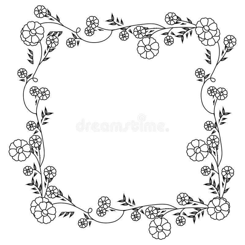 Contorno monocromático com a decoração quadrada floral da grinalda com flores ilustração royalty free