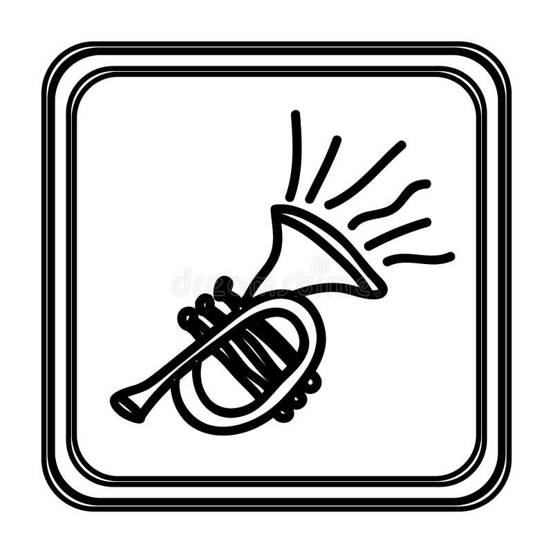 contorno monocromático con la mano de la trompeta dibujada stock de ilustración