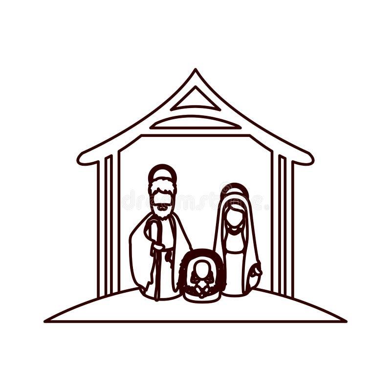 Contorno monocromático con Virgen María y San José y Jesús en pesebre debajo del pesebre stock de ilustración