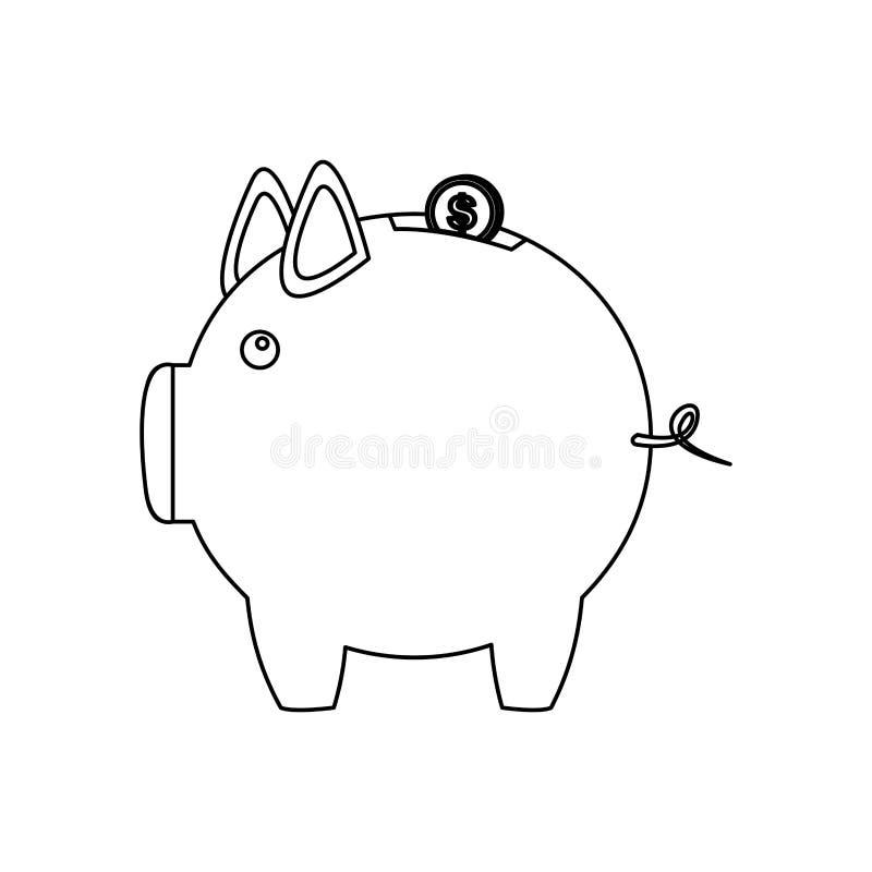 contorno monocromático da caixa de dinheiro na forma de leitão ilustração royalty free