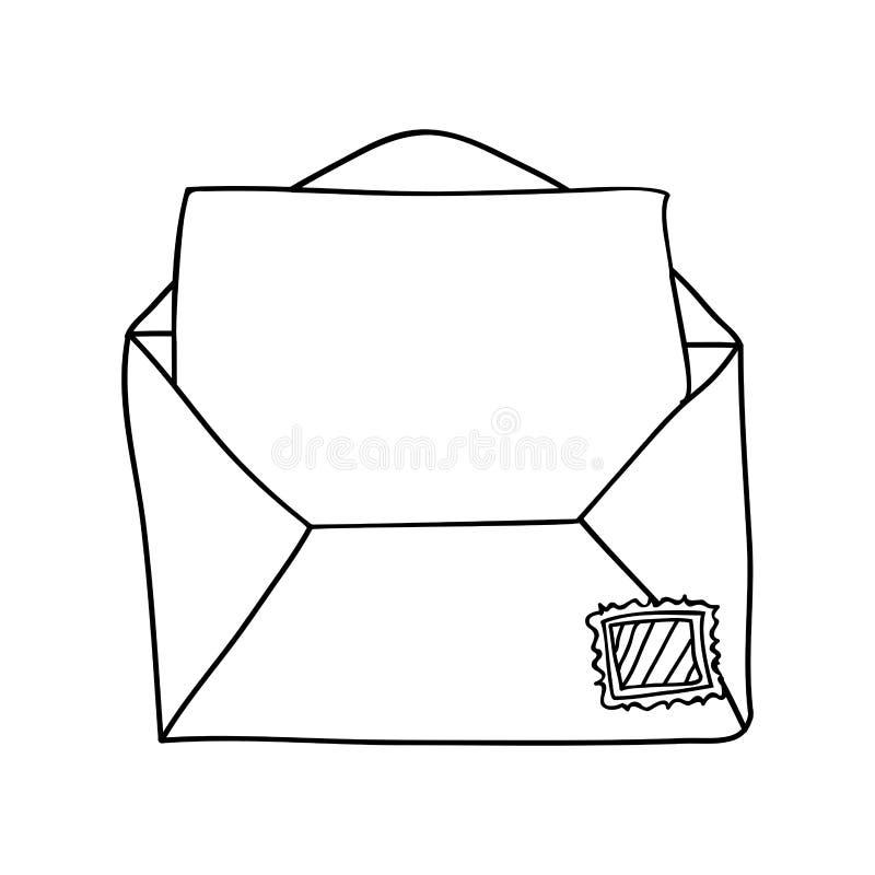 Contorno monocromático do correio do envelope aberto ilustração royalty free
