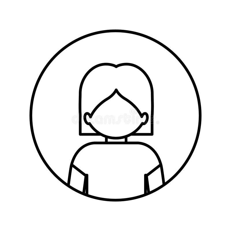 Contorno monocromático en círculo con el medio hombre del cuerpo con el pecho desnudo stock de ilustración
