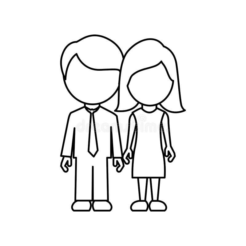 contorno monocromatico anonimo con il papà e la mamma in vestiti convenzionali illustrazione vettoriale