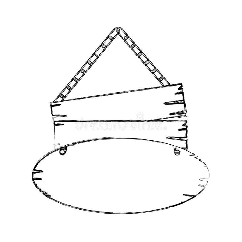 contorno monocromatico bordo di legno del segno dei pezzi di paia di vecchio con le catene illustrazione vettoriale