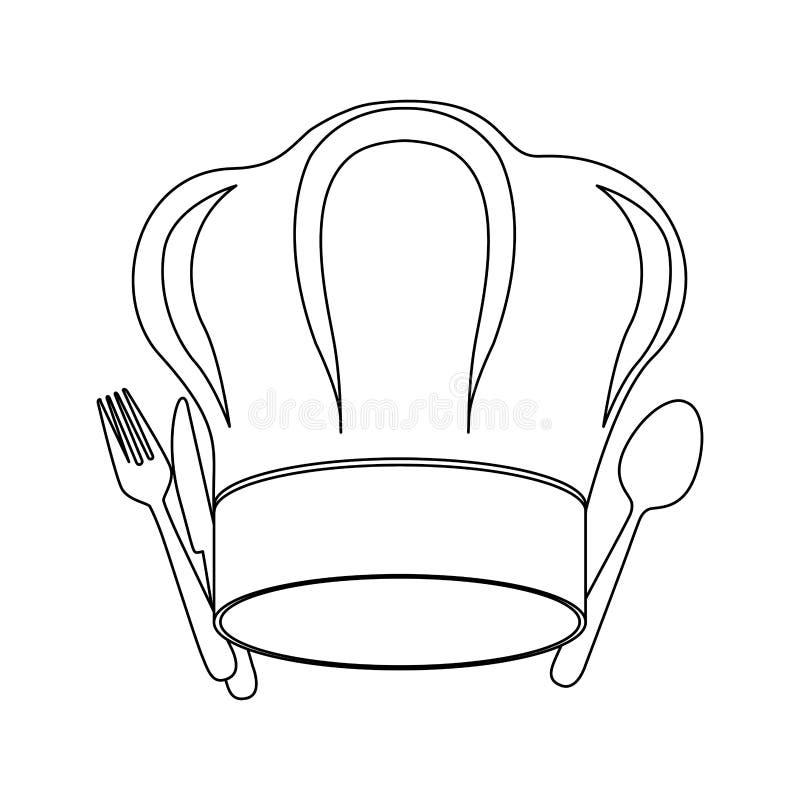 contorno monocromatico con il cappello e la coltelleria del cuoco unico royalty illustrazione gratis