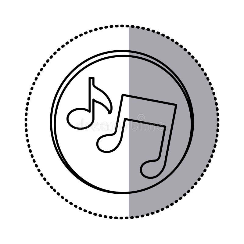 contorno monocromatico con l'autoadesivo del cerchio delle note musicali royalty illustrazione gratis