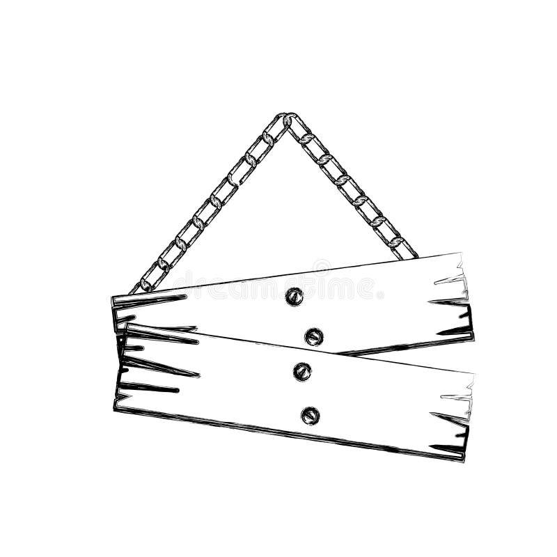 contorno monocromatico del bordo di legno del segno dei pezzi di paia con le catene royalty illustrazione gratis