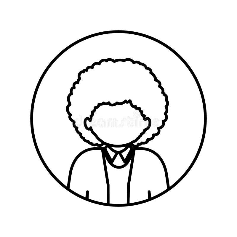 Contorno monocromatico nel cerchio con il mezzo uomo di afro del corpo con capelli ricci illustrazione vettoriale