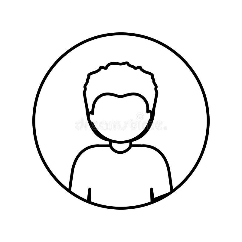 Contorno monocromatico nel cerchio con il mezzo uomo di afro del corpo con i capelli di scarsità illustrazione di stock