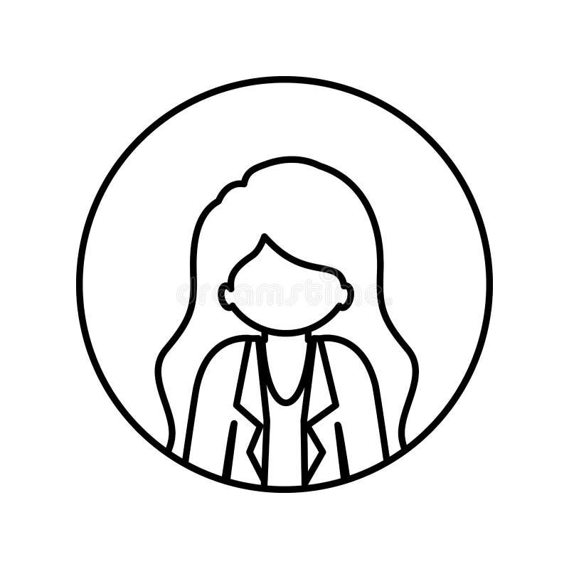 Contorno monocromatico nel cerchio con la mezza donna di afro del corpo con il rivestimento ed i capelli lunghi royalty illustrazione gratis