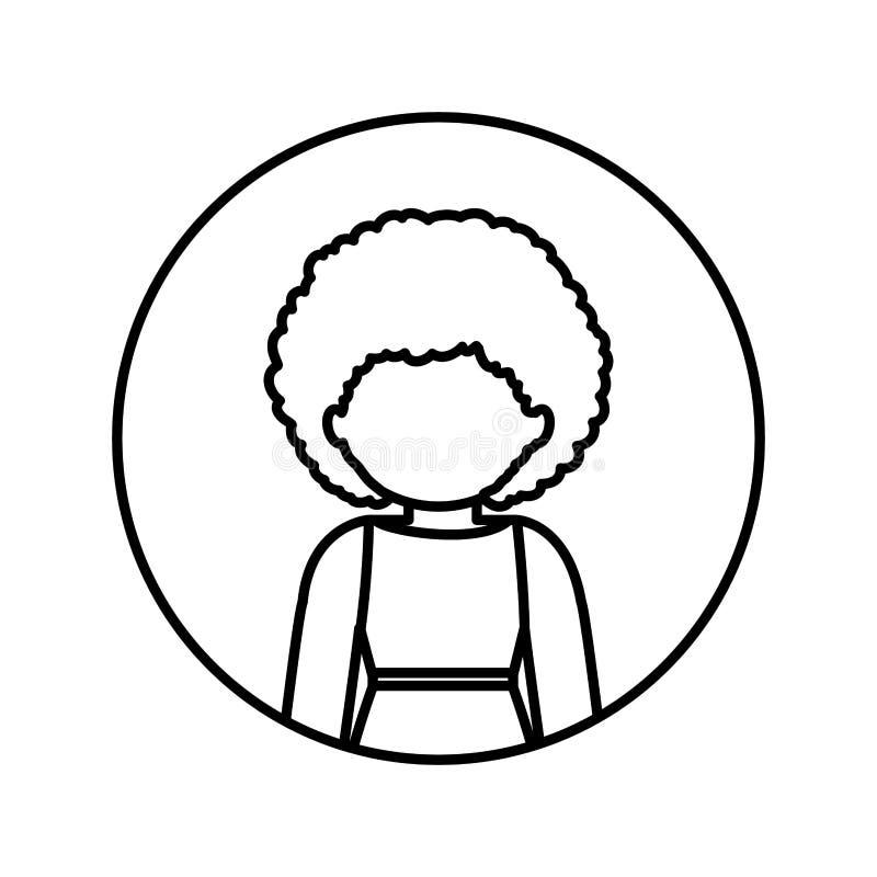 Contorno monocromatico nel cerchio con la mezza donna di afro del corpo in vestito con capelli ricci illustrazione di stock