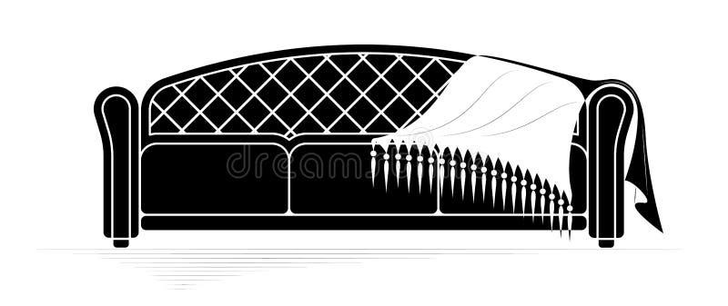 Contorno nero di un sofà molle con un velo che si trova su  Stile classico Logo o emblema dell'affare della mobilia royalty illustrazione gratis