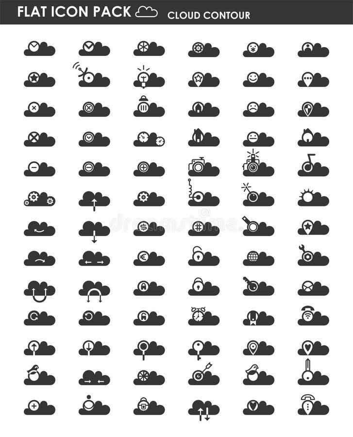 Contorno piano della nuvola del pacchetto dell'icona illustrazione vettoriale