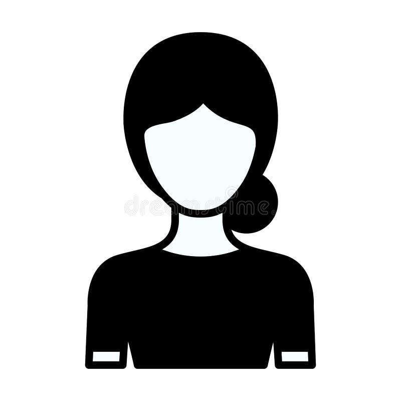 Contorno spesso della siluetta nera di mezza donna anonima del corpo con l'acconciatura raccolta panino illustrazione di stock