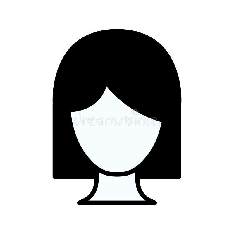 Contorno spesso della siluetta nera della donna anonima di vista frontale con i capelli di scarsità illustrazione di stock