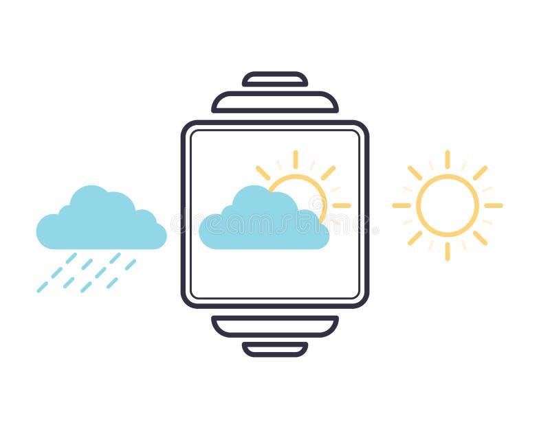 Contorno vettoriale con le icone delle applicazioni meteorologiche Simbolo meteorologico di pioggia, nuvolosità e sole con raggi royalty illustrazione gratis