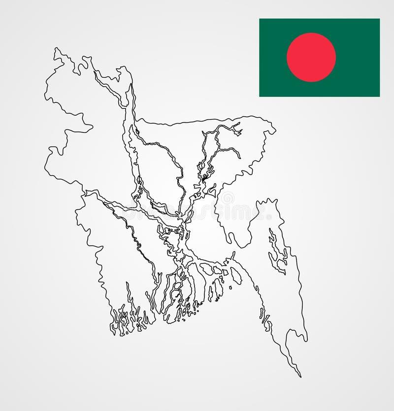 Contorno y bandera del mapa de Bangladesh stock de ilustración
