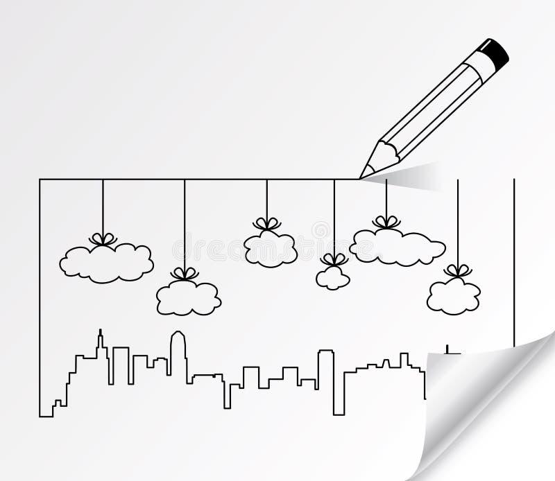 Contornos da cidade das construções e das nuvens ilustração stock