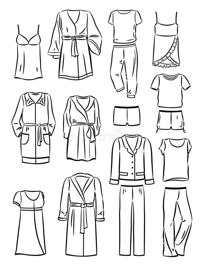 Contornos da roupa do agregado familiar das mulheres ilustração royalty free