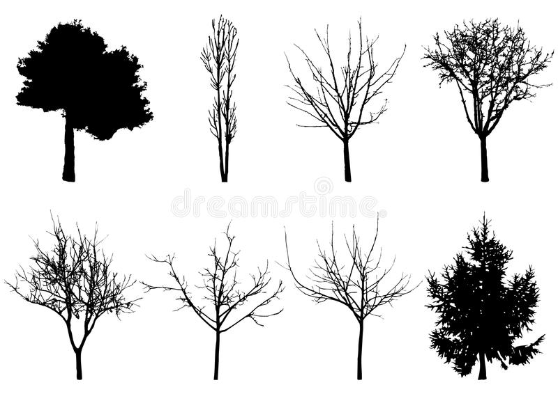 Contornos das árvores ilustração do vetor