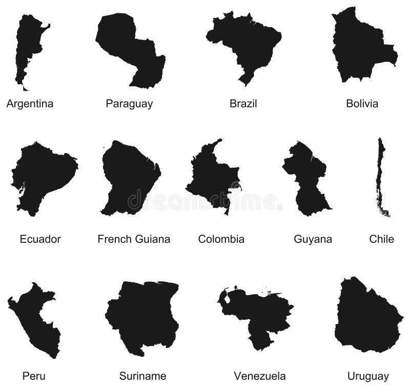 Contornos de 13 países de Suramérica. stock de ilustración