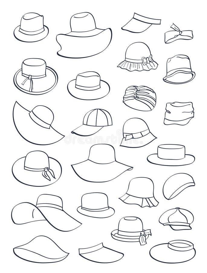 Contornos de chapéus do verão ilustração stock