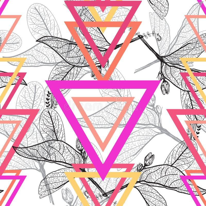 Contornos de las hojas, modelo inconsútil floral de moda moderno anaranjado rosado magenta brillante del arco iris del triángulo, ilustración del vector