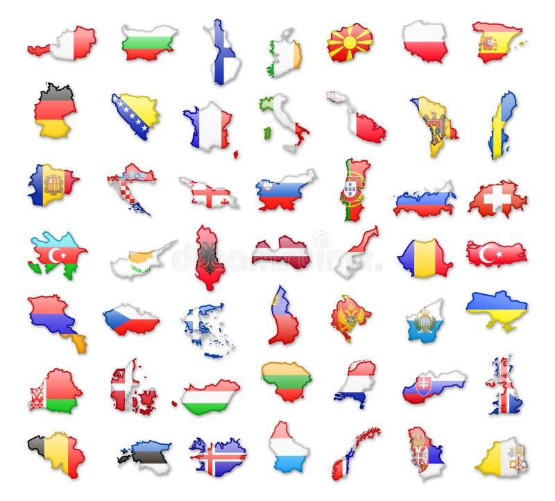 Contornos de países europeus com bandeiras Ilustração do vetor ilustração royalty free