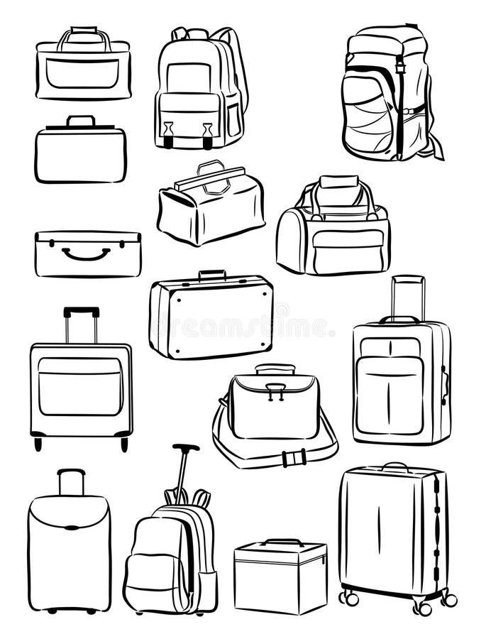Contornos de sacos do curso ilustração stock