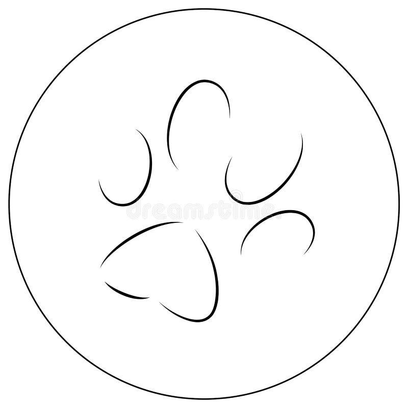 Contornos de uma pata do ` s do gato ilustração do vetor