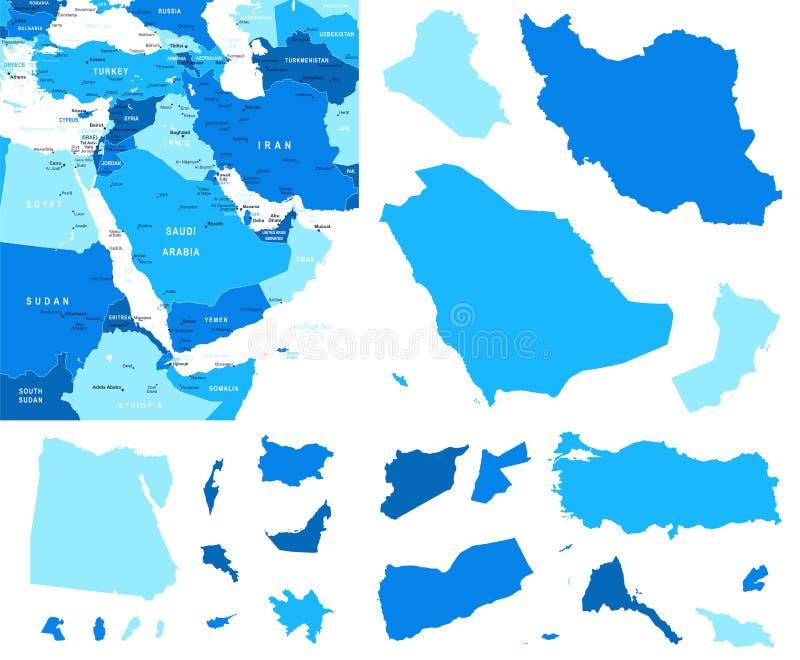 Contornos do mapa e do país de Médio Oriente - ilustração ilustração royalty free