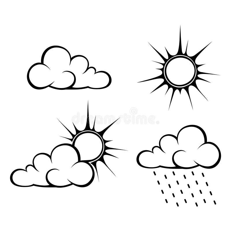 Contornos pretos das nuvens e do sol Ilustração do vetor ilustração stock
