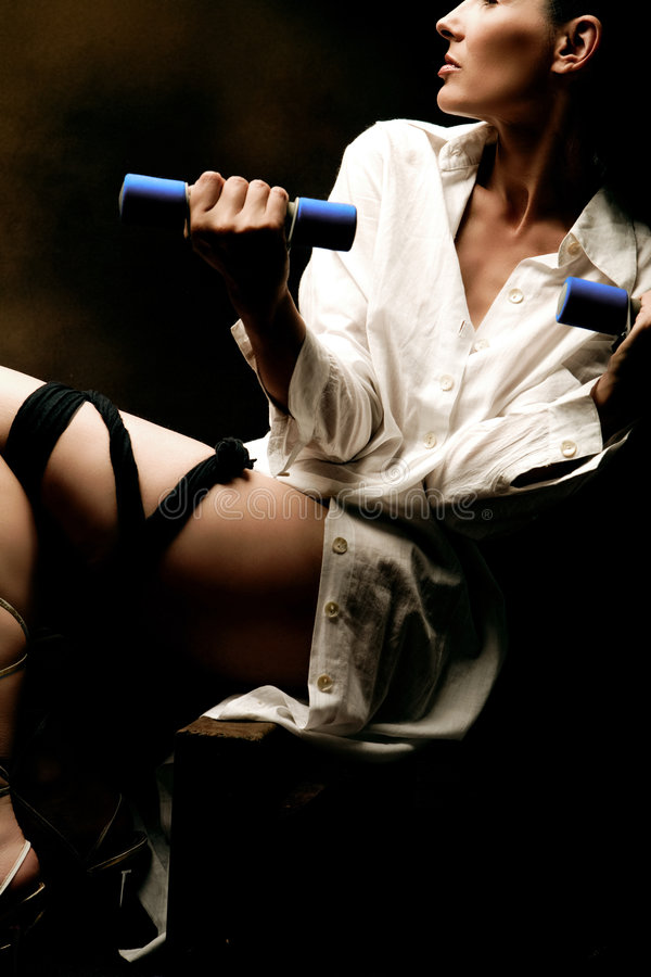 Download Contorted Lady With Barbells Stock Photo - Image: 3321408