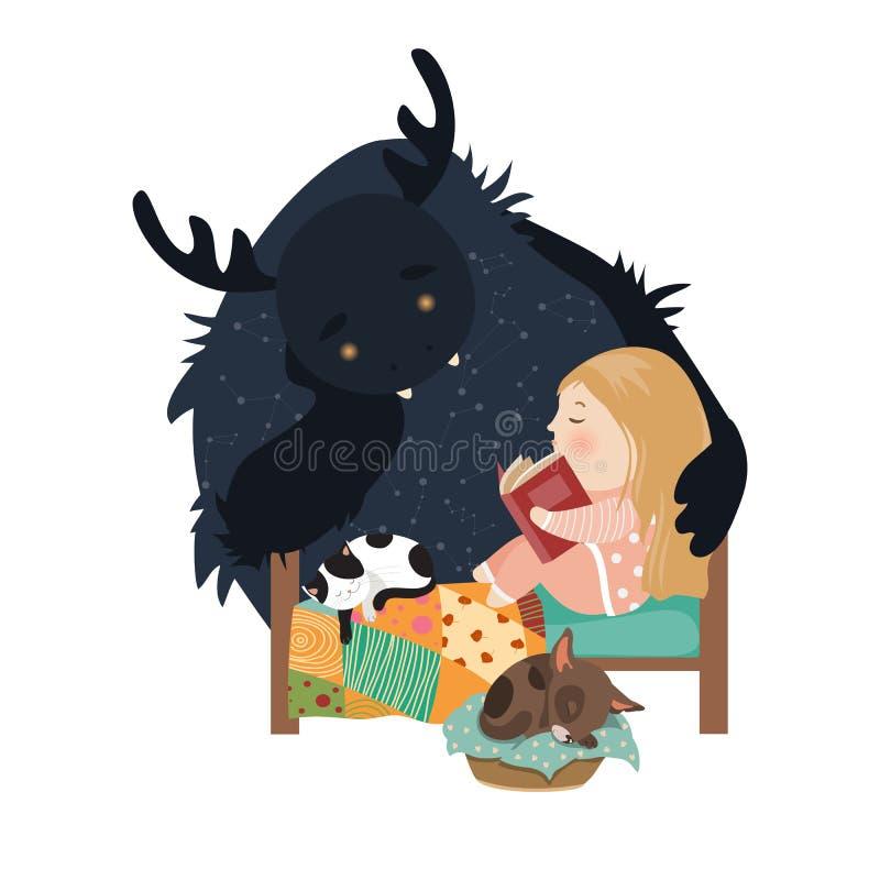 Contos de fadas da leitura da menina ao monstro ilustração royalty free