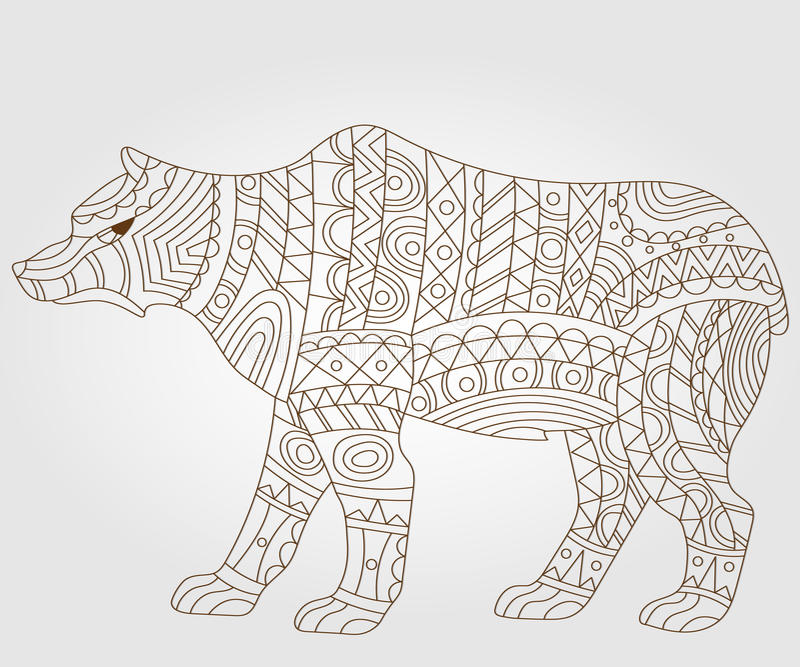 Contour abstract image of a bear , dark outline on a light background stock illustration