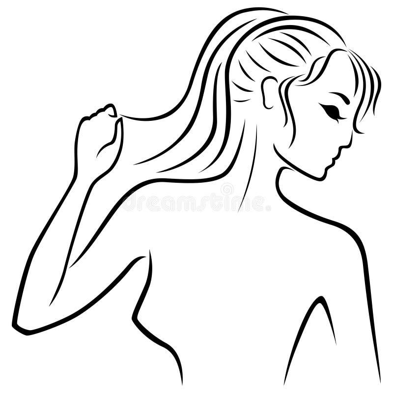 Contour abstrait de portrait de jeunes femmes illustration de vecteur