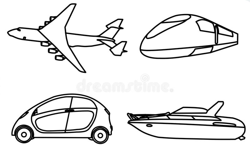 Contour of aircraft, car, train and yacht. On white background vector illustration