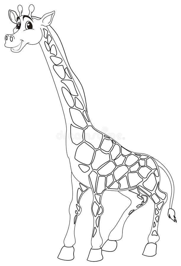 Contour animal de griffonnage pour la girafe mignonne illustration de vecteur