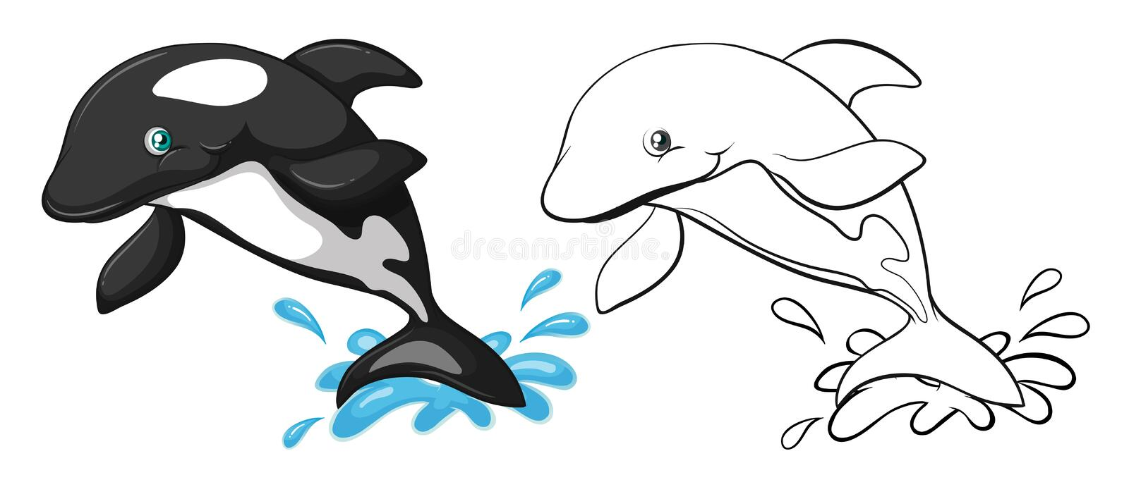 Contour animal pour la baleine illustration libre de droits