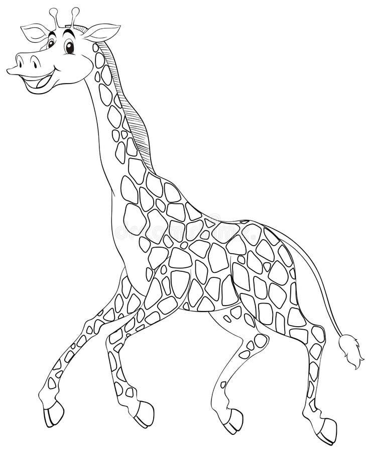 Contour animal pour le fonctionnement de girafe illustration libre de droits