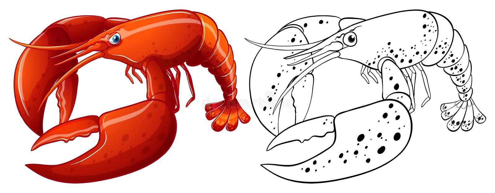 Contour animal pour le homard illustration libre de droits