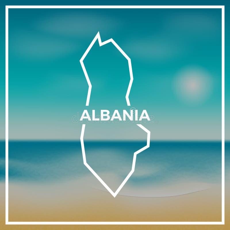 Contour approximatif de carte de l'Albanie contre le contexte de illustration de vecteur