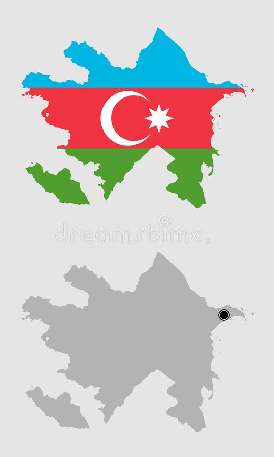 Contour of Azerbaijan. In grey and in flag colors stock illustration