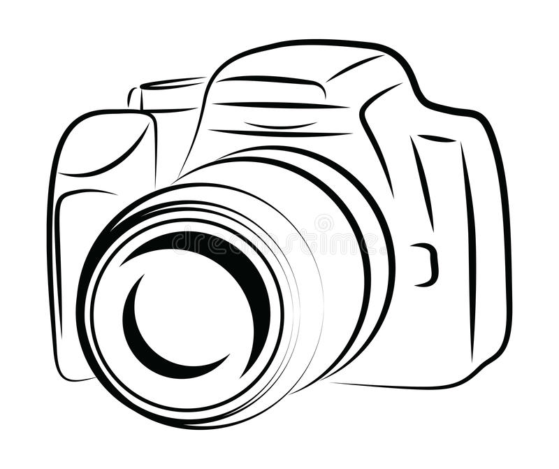 Contour Camera Drawing stock illustration. Image of illustration ...