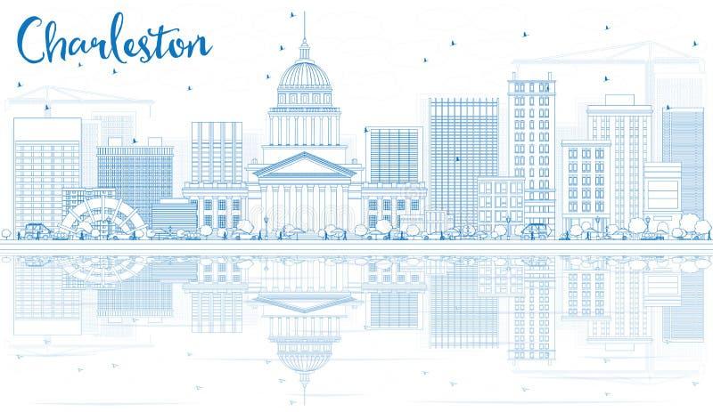 Contour Charleston Skyline avec les bâtiments bleus et les réflexions illustration libre de droits
